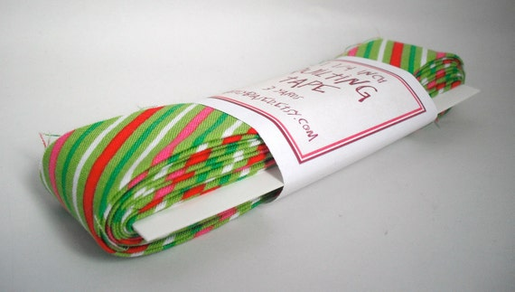 Quilt Binding - Diagonal Stripe in Green Handmade Quilting Tape, 3 Yards
