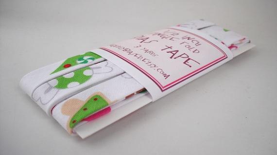 Bias Tape - Tossed Desserts in White Handmade Single Fold Bias Tape, 3 Yards