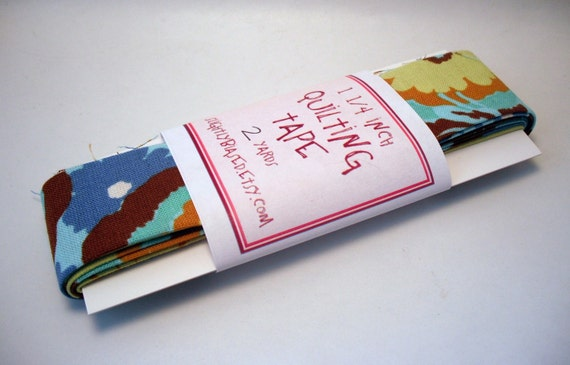 Quilt Binding - Bliss Buttercups in Cyan Handmade Quilting Tape, 2 Yards
