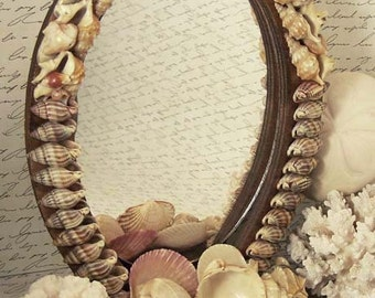 Shell Mirror / French Shell Mirror / Sea Shell Mirror / Shell Art /French Mirror / Sea Shells / Vintage Shell Mirror / French Shell Souvenir