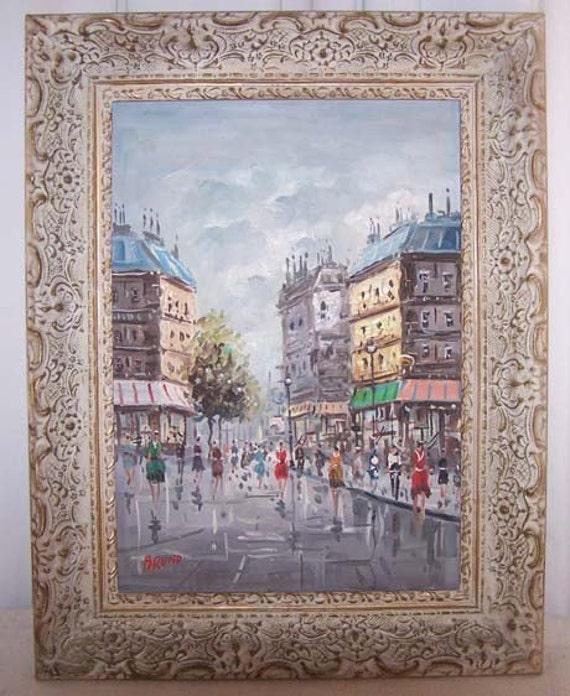 Paris City Street Scene Oil Painting Wonderful Vintage