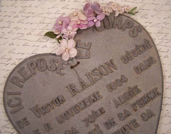 French Monument Iron Heart Plaque - 1884 Beautiful Antique Heart