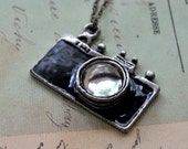 Camera Necklace - Black Enamel with Glass Lens - on a short dainty brass chain.