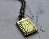 Necklace. Secret Story Book. Tiny brass locket on brass chain. By Vintette on Etsy.