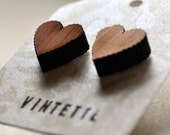 Earrings. Wood, Laser-cut, Heart, Sustainable, Small, Stud, Post, Dark. Cute, sweet design by Vintette on Etsy.