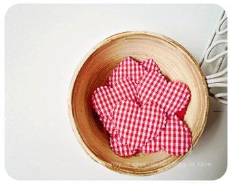 Red Checkered Heart shape velvet felt / pack