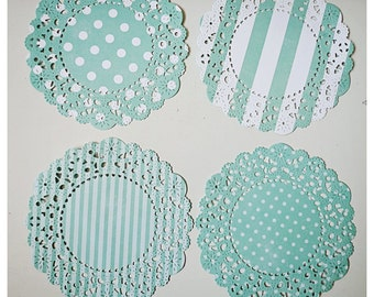 Parisian Lace Doily polka dot & stripe for Scrap booking or card making / pack