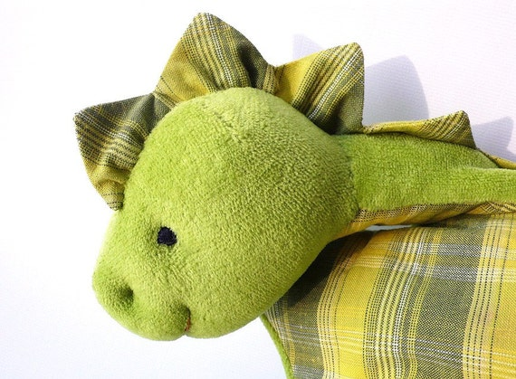 Dino dragon plushie cuddly toddlers spring green yellow checked cotton