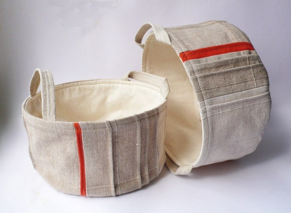 Handmade Cotton Baskets : Fabric baskets handmade cotton natural tan orange pleated