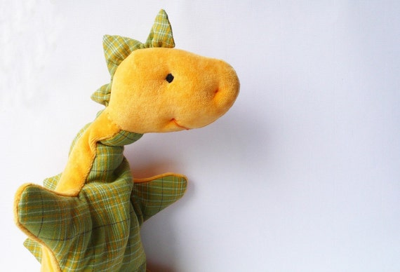 Dino dragon plushie cuddly toddlers yellow green checked cotton