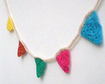 Crochet bunting, crochet garland, multicoloured bunting