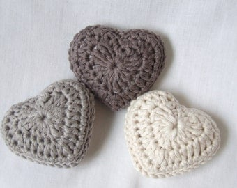 crochet hearts with lavender