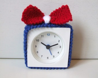 alarm clock cosy cover, alarm clock cozy, knitted cosy with bow, knitted cozy, FREE UK shipping, IKEA hack, pimped clock, red white and blue