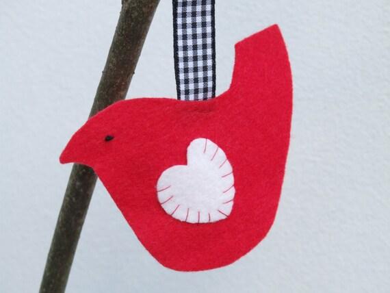 Valentine's Day red bird, heart decoration