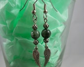 Angel Seraphinite Earrings Silver Plated w Angel Wings - SS5014