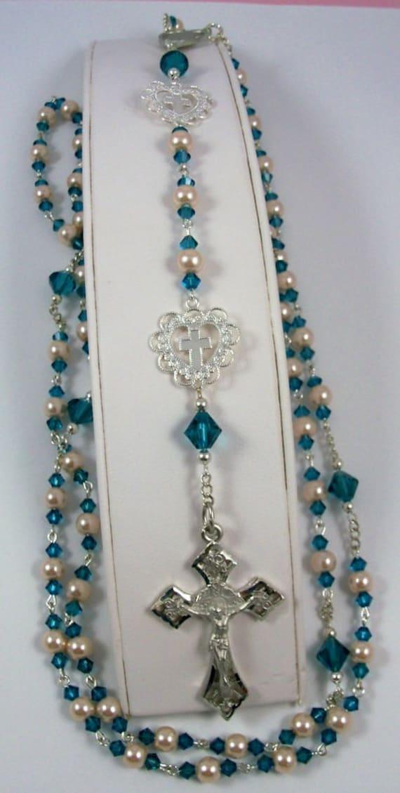 Pearl Catholic Rosary w Swarovski Crystals