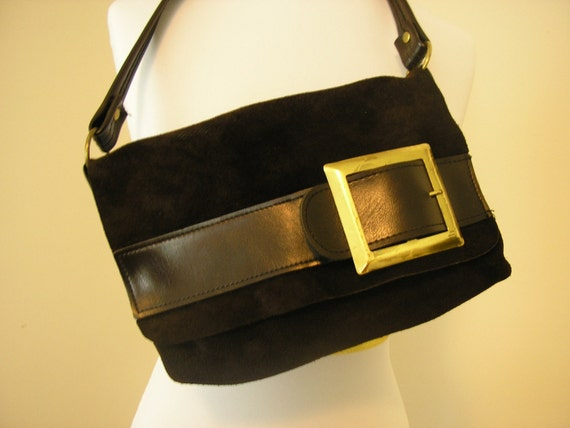 1970s suade purse / 70s brown handbag / 1970s Charlies Angels brown purse