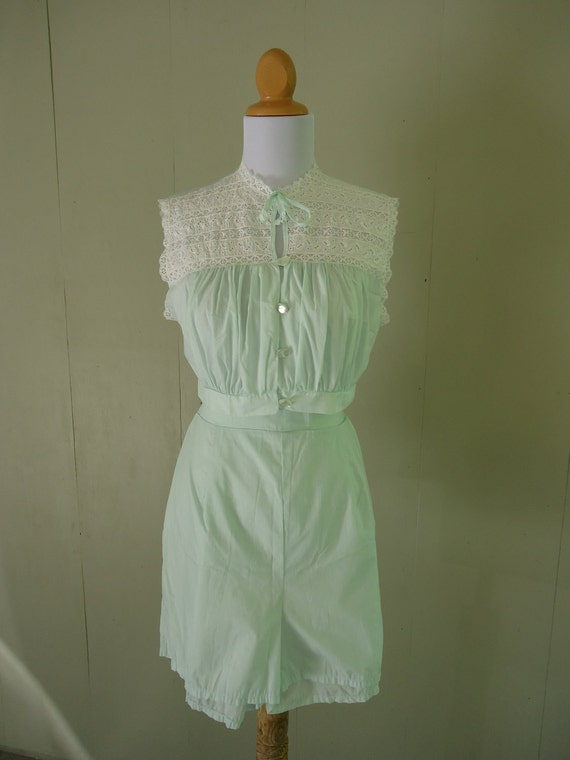 1960s lingerie / 60s pajama short set / 1960s Mad Men Sea Green lingerie set