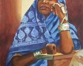 """Original Watercolor, """"Blue Sari"""""""