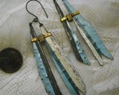 Blue white recycled tin dangles