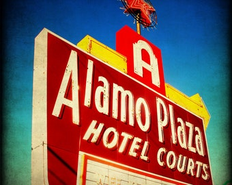 Texas Hotel Neon Sign Fine Art Photography Texas Alamo Print