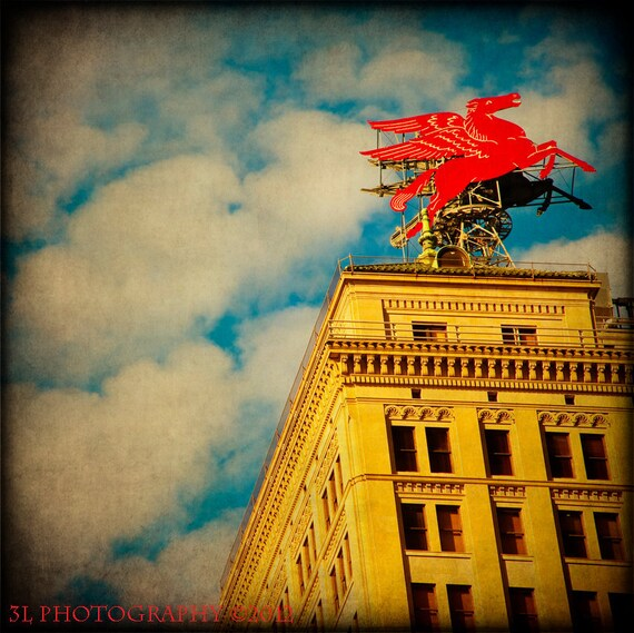 Flying Red Horse Pegasus Dallas Photograph Art Photography Mobil Oil Fine Art Prints