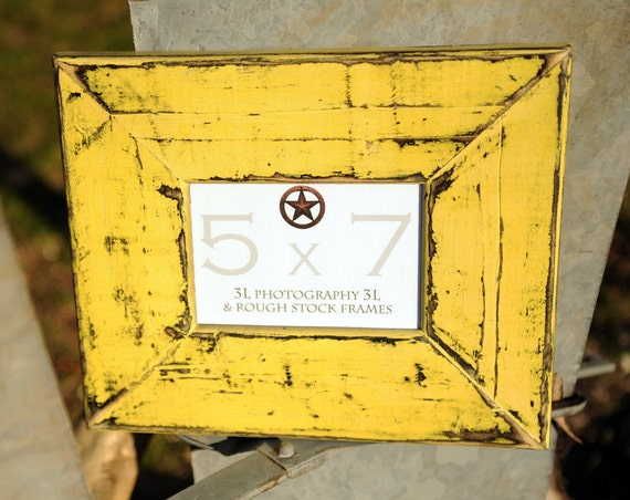 "Texas Photo Frame Rustic Picture Frame Yellow 5x7 Distressed Southwestern  ""ROUGH STOCK FRAME"""