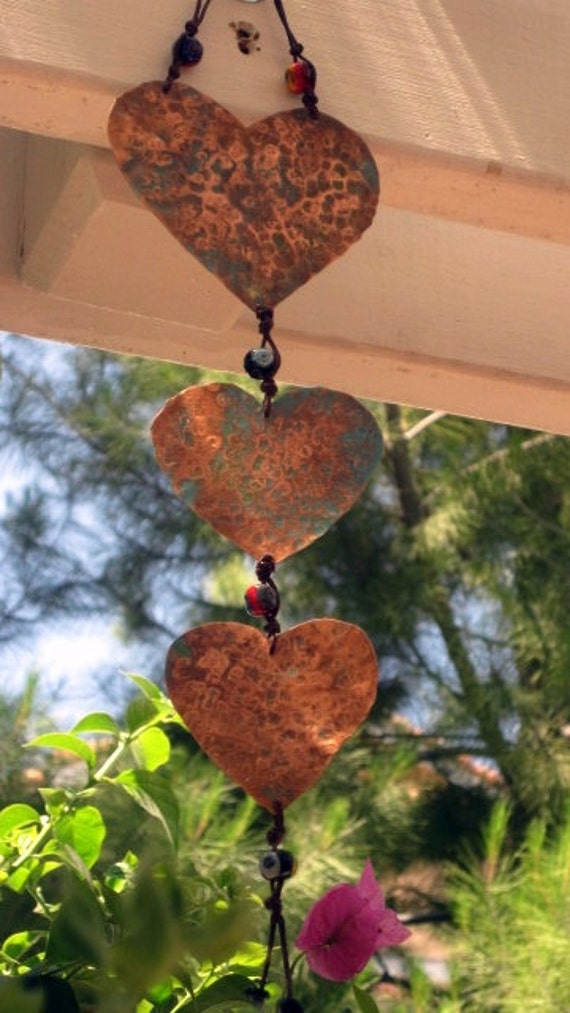 Hammered Copper Heart PERSONALIZED Available Hanging Art with Glass bead Accents Whimsical