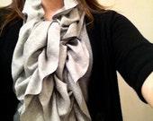 Grey Cotton Jersey Ruffle Scarf