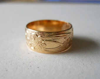 14k Gold Filled Wide Pattern Band Ring