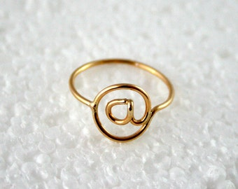 At Symbol @ Ring 14k Gold Filled Twitter Instagram Ring Email