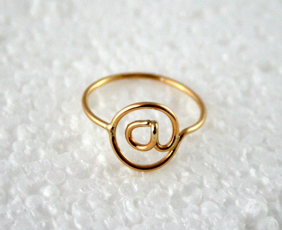 At @ Symbol Ring 14k Gold Filled, Twitter Ring Email