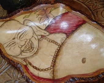 Laughing Buddha Wood Burned Bowl