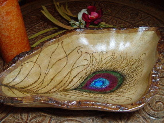 Wood Burned Peacock Feather Bowl