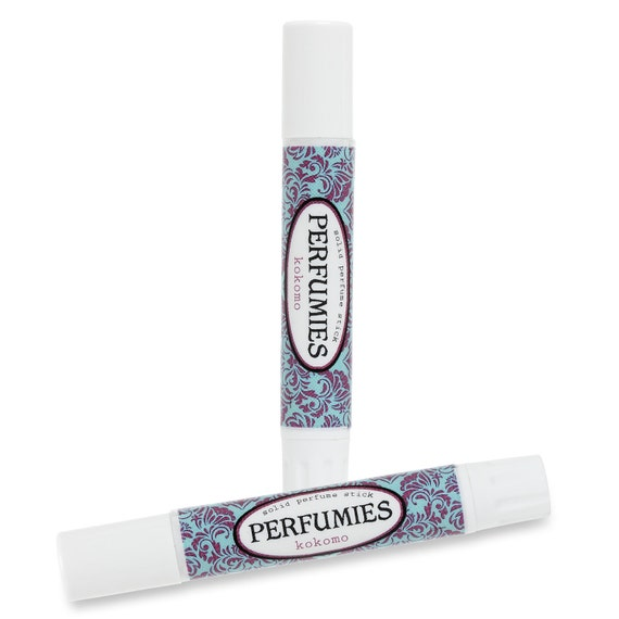 Solid Perfume Stick - KOKOMO: Handmade Travel Size Fragrance - All Natural Base - hibiscus, violet, peony, creamy vanilla, sweet coconut