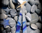 """Sea Glass Salad Server made with Recycled Bottle """"Tumbled Island Glass""""  in Cobalt/Navy & White Stripes. Dishwasher safe Stainless."""