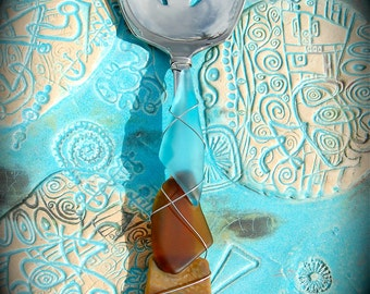 """Sea Glass Slotted Serving Spoon made with Recycled Bottle """"Tumbled Island Glass""""  in Oyster Bay color combo. Dishwasher Safe Stainless"""