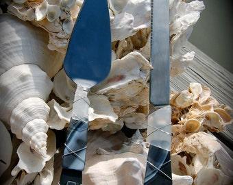 "Sea Glass Wedding Cake Knife & Server made with Recycled Bottle ""Tumbled Island Glass""  Black and White Stripes. Dishwasher Safe"