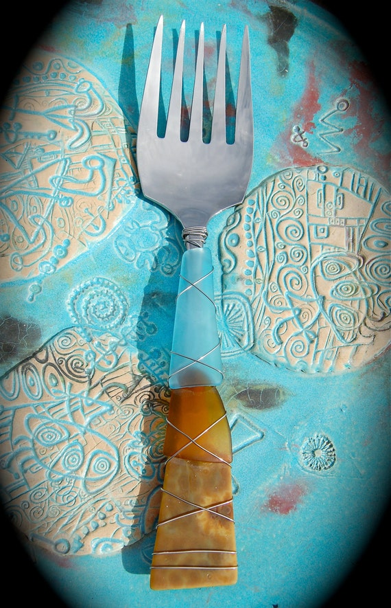 "Sea Glass Serving Fork made with Recycled Bottle ""Tumbled Island Glass""  in Oyster Bay color combo. Dishwasher Safe. Stainless Steel."
