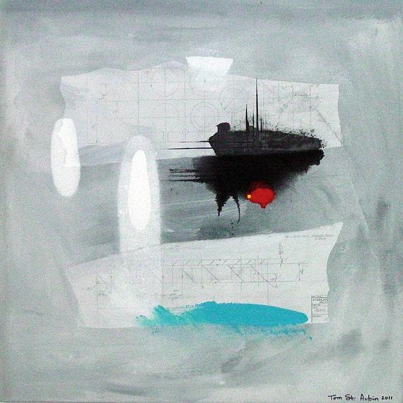 "Abstract  modern art  large 33""x33"" St.  Aubin"