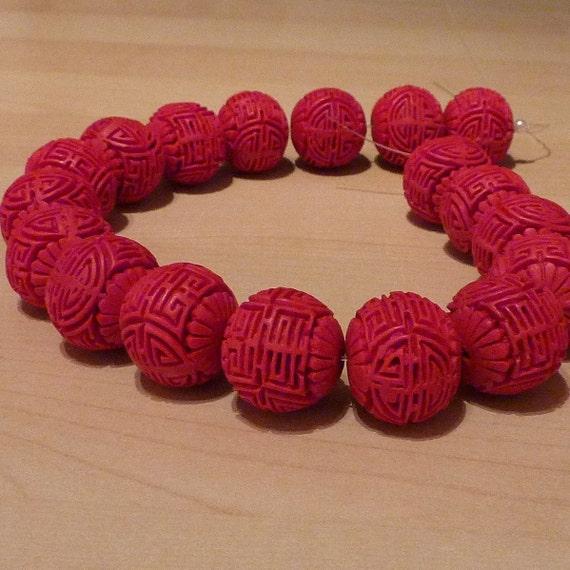 String of 18 Large, Genuine Cinnabar Beads - 25 x 20mm