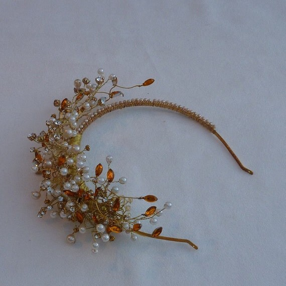SALE Side Tiara: golden stems with pearls and crystals