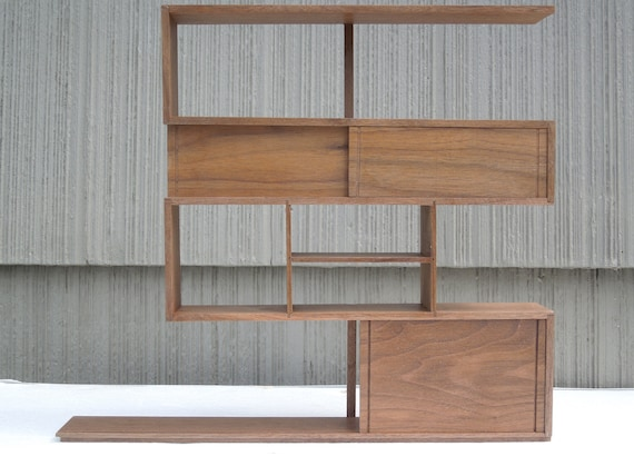 "Modern Miniature Z Shelving ""Custom Order for Susan"" in walnut 1:6 scale"