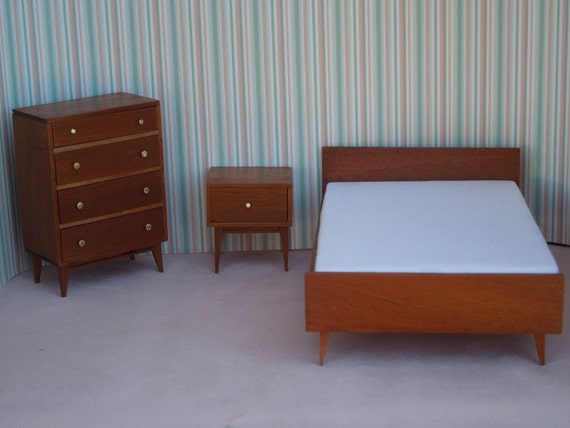 Mid Century Modern Miniature Bedroom Suite In Mahogany By Minisx2