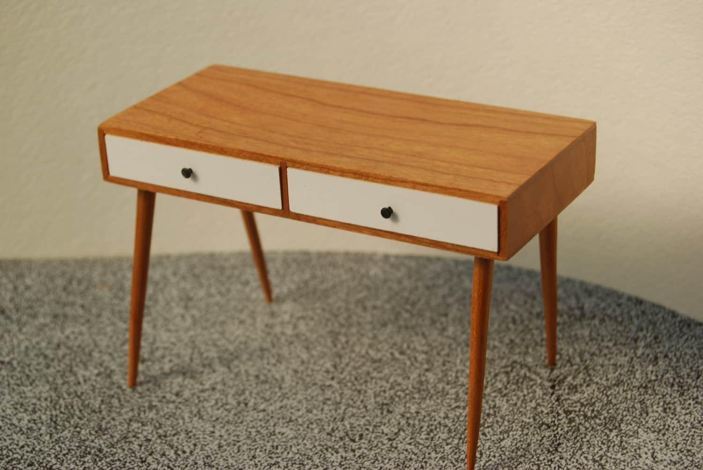 Miniature mid century modern desk in cherry 112 scale 🔎zoom