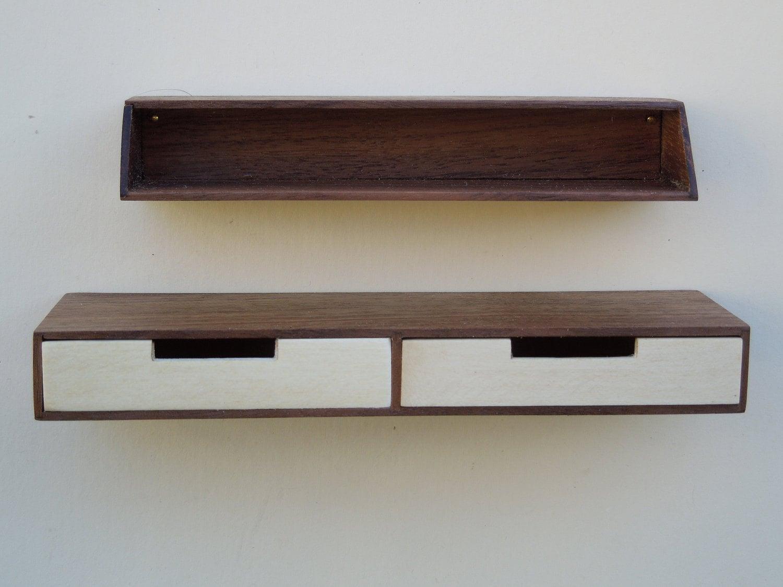 Miniature Mid Century Modern Hanging Desk And Shelf In Walnut