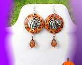 Pumpkin Halloween Dangle earrings silver plated earwires, silver charms on a shell with ckackle glass beads