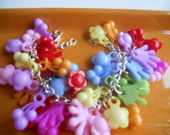 Charm Bracelet - Colorful Rainbow Kitschy Spring and Easter Gift - Penny Candy Gumdrops and Button Candy Bracelet