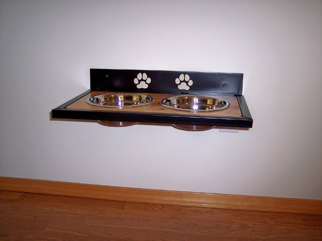 elevated wall mounted dog dish holder. Black Bedroom Furniture Sets. Home Design Ideas