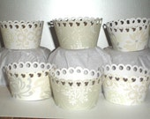 12 Wedding Bliss Cupcake Wrappers...holder, bridal, special day, girl, champagne, ivory, silver, bridal shower